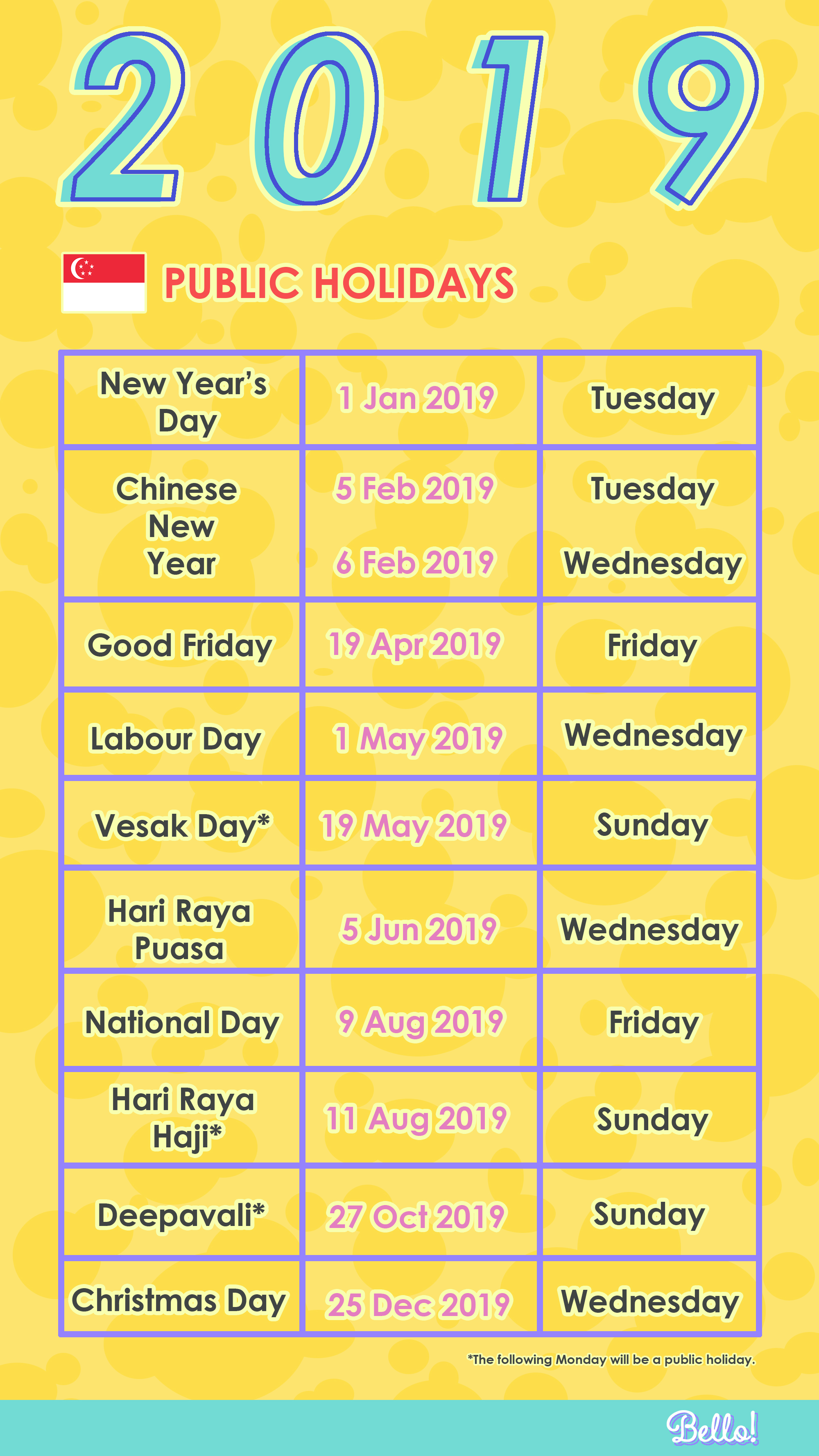Public Holidays And Long Weekends In 2019 Singapore Bello Asia