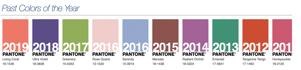 Pantone colours for the last few years